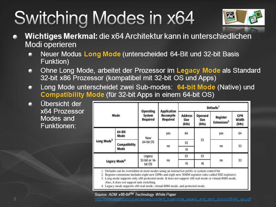 [Course Title] [Module Title] Switching Modes in x64. Wichtiges Merkmal: die x64 Architektur kann in unterschiedlichen Modi operieren.